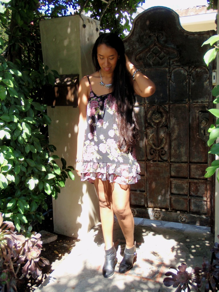 Forever 21 ruffled floral cami dress sheer moment sweater