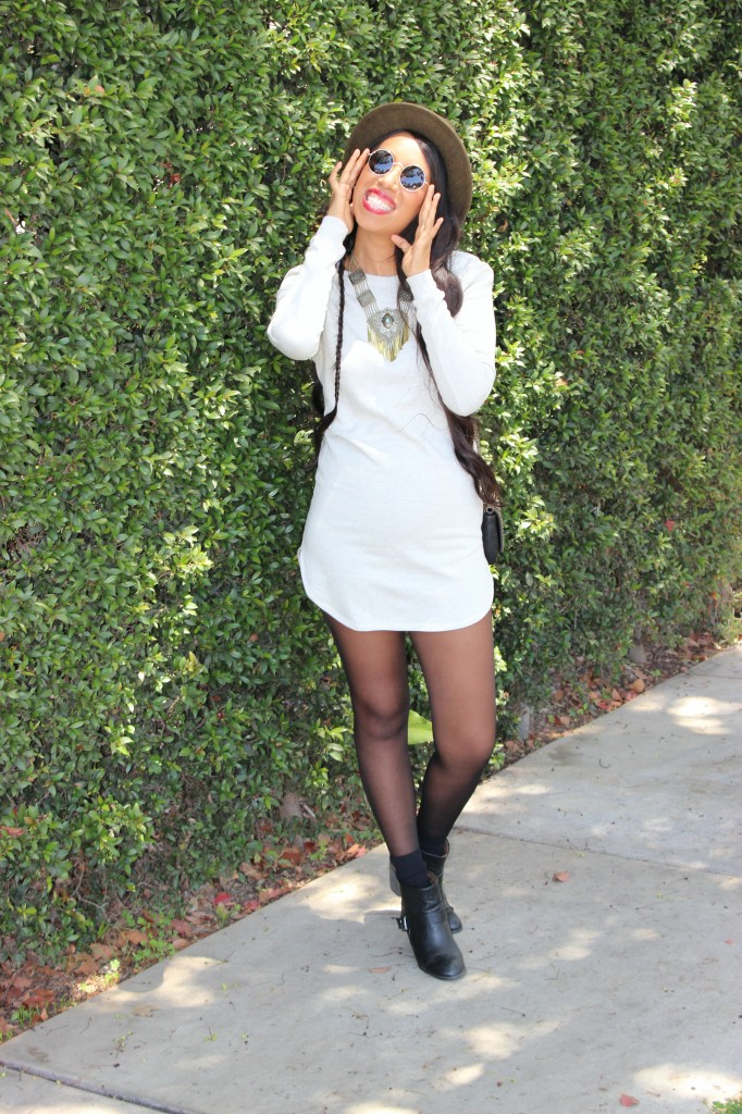 ivory sweater dress green fedora hat black tights and boots outfit