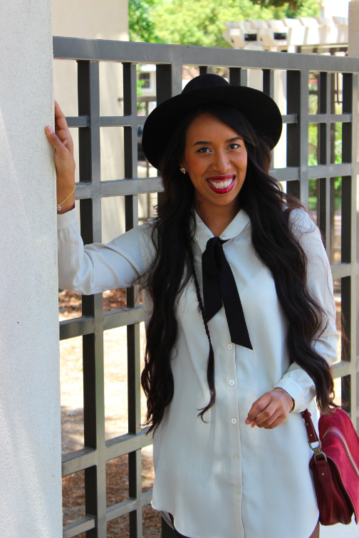ivory shirt dress black tights black booties red saddle bag black panama hat outfit