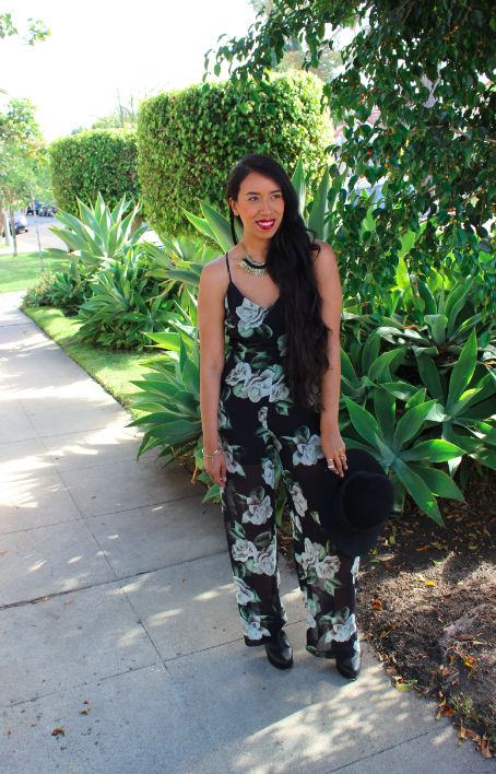 fashion blogger the line and dot nirvana garden jumpsuit outfit black booties black round top hat