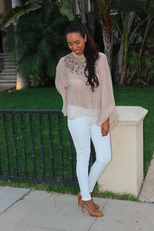 urban outfitters Kimchi Blue Delilah Embellished Chiffon Bell-Sleeve Top white true religion jeans outfit