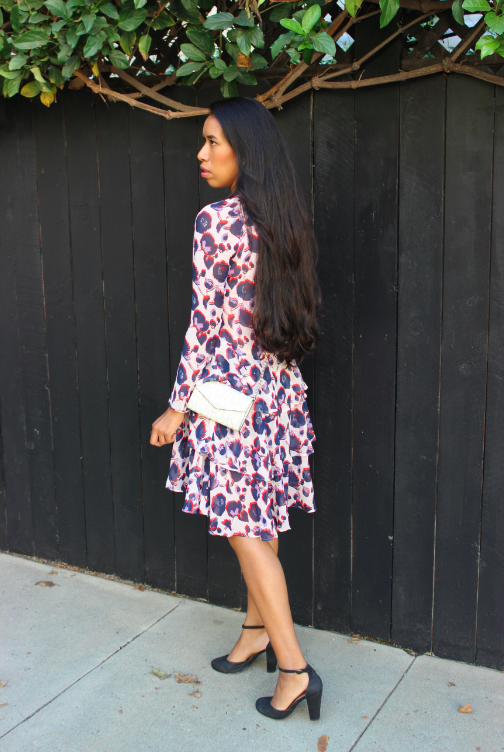 h&m hm h and m patterned ruffled dress powder pink black ankle strap heels style blogger outfit posh scene