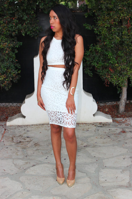 revolve me tularosa white ivory BEAU CROP TOP and pencil skirt set combination outfit