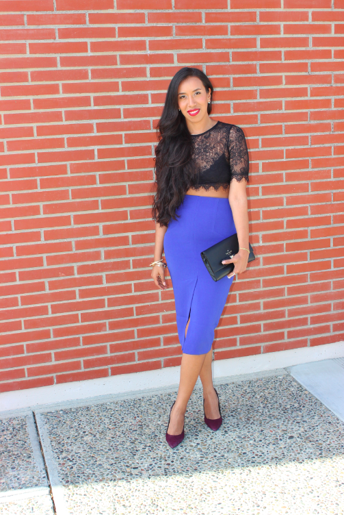 Nasty Gal Wink Back Black Lace Crop top Nasty Gal Naomi blue pencil skirt scuba material outfit nordstrom charles david genuine calf hair kaso pump burgundy purple kate spade new york Holly Street Remi Clutch