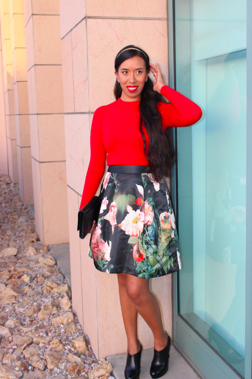 Ted Baker PALADIA Opulent bloom skirt zara red cuffed sweater 15
