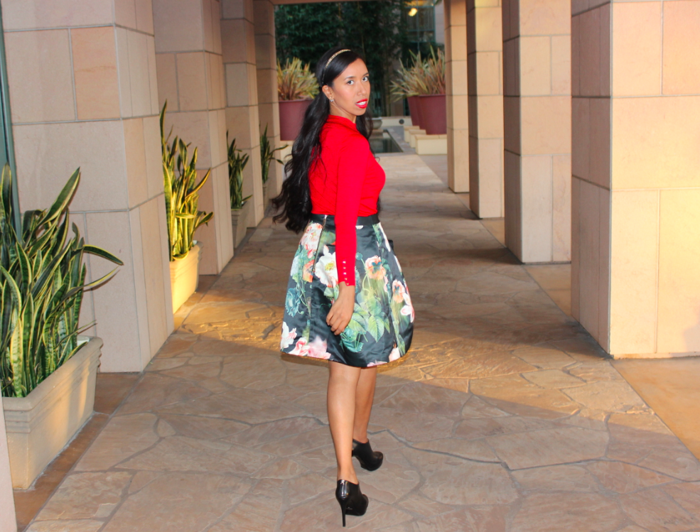 Ted Baker PALADIA Opulent bloom skirt zara red cuffed sweater 18
