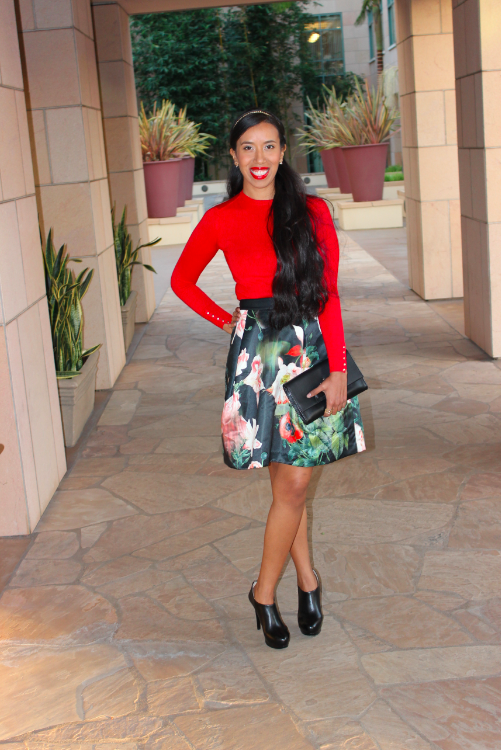 Ted Baker PALADIA Opulent bloom skirt zara red cuffed sweater 19