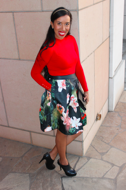 Ted Baker PALADIA Opulent bloom skirt zara red cuffed sweater 21