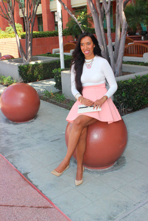 zara off-white ivory cuffed sweater nastygal savannah peach skater skirt GUESS nude heels gold accessories outfit