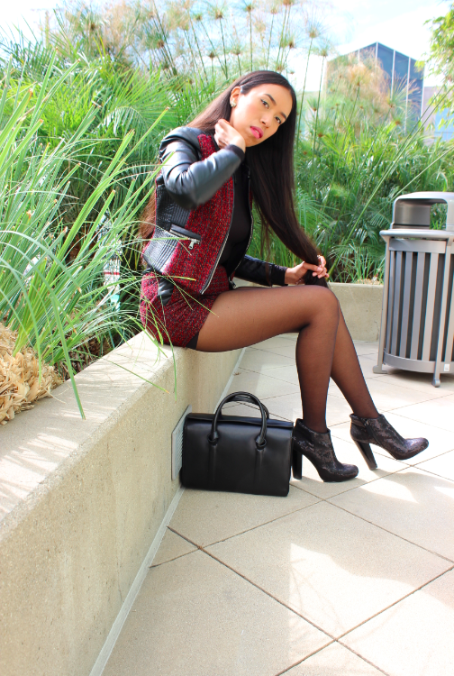 HM Burgundy Jacquard-weave Biker Jacket and shorts black turtleneck black sequin booties