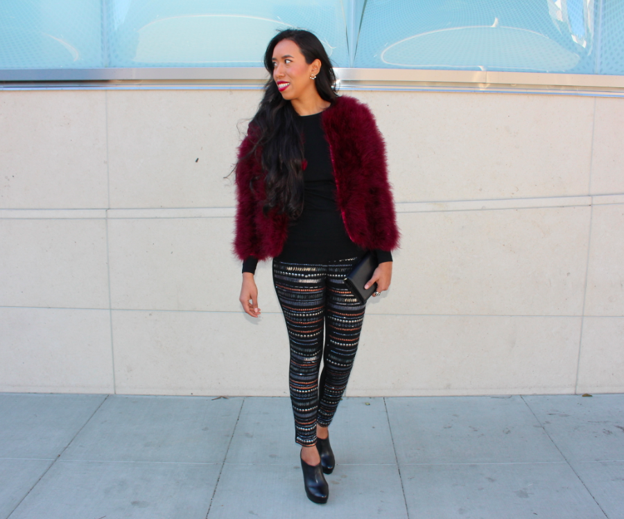 Revolve Clothing the line and dot Burgundy Angelina Feather Fur Jacket NBD X Revolve Clothing Beaded Sequined Black Legging Outfit