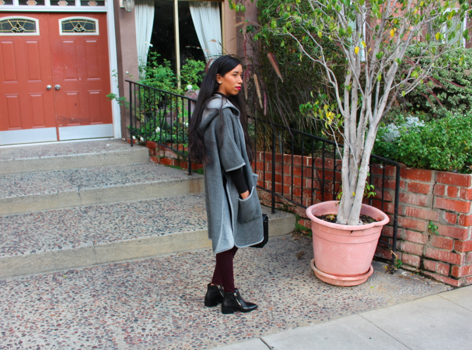 zara grey hooded cape black pointy boots hm black turtleneck topshop red burgundy Moto Ripped Aubergine Leigh Jeans