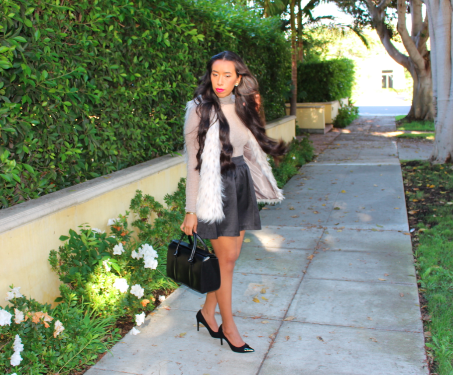 zara long fur vest ecru banana republic black Shine Faille Full Skirt zara ribbed sweater mink