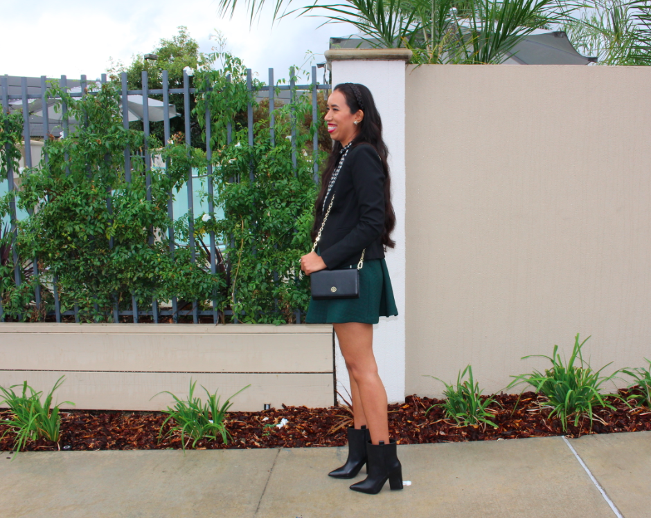 1 STATE Black Sculpted Boy Blazer Green Quilted Houndstooth Mini Skirt ZARA Printed shirt with bow black white ecru