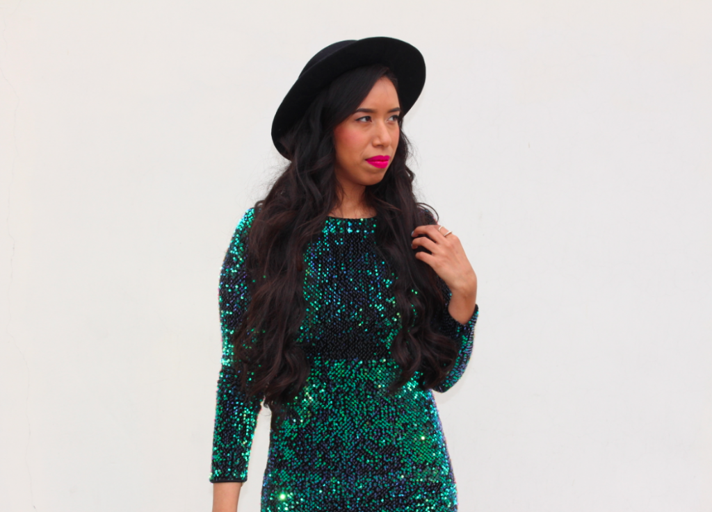 MOTEL ROCKS Deluxe Gabby Sequin Plunge Back Dress in Iridescent Green Zara Black High-heeled leather cowboy bootie Urban Outfitters Black Flat-Top Boater Hat Outfit