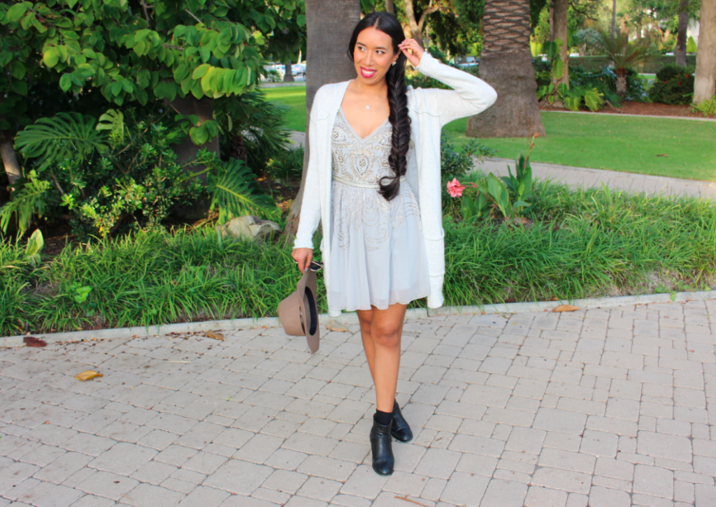 Urban Outfitters Kimchi Blue Grey Melanie Crystal Dress  Grey Silence + Noise After Summer Cardigan Light Brown Braided Trim Felt Panama Hat Black Booties Outfit