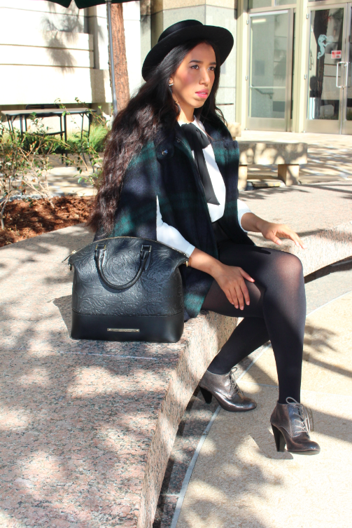zara green blue HOODED CHECKED WOOL CAPE black high wasted shorts shirt with bow collar silver booties outfit