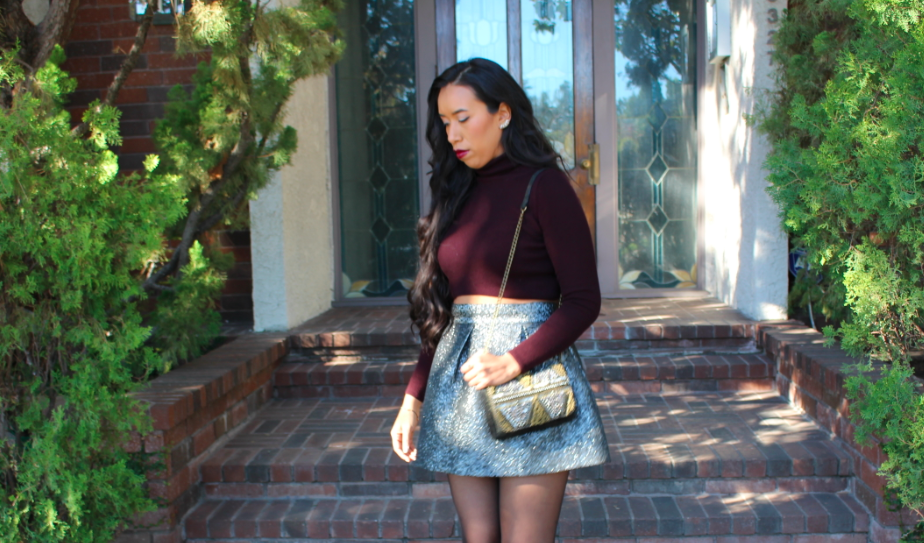 Topshop Burgundy Dark Red ROLL NECK CROP SWEATER Nordstrom Frenchi Silver Metallic Crinkle Skirt (Juniors) Anthropologie Asterina Crossbody Bag Jasper & Jeera