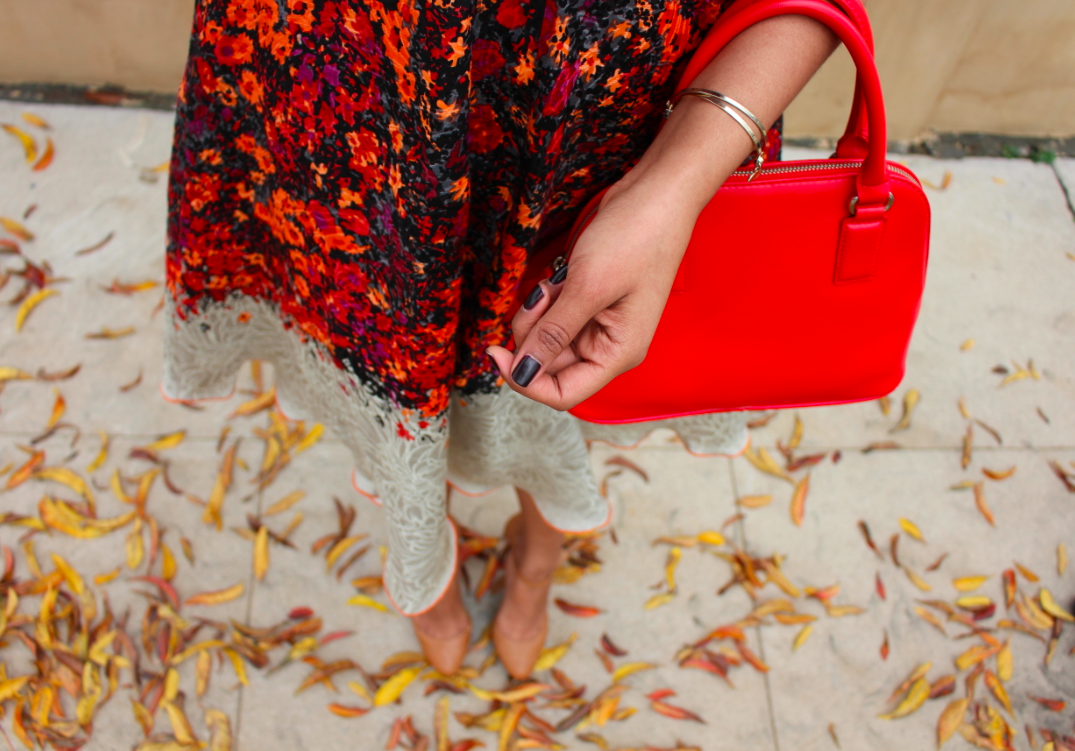 Nordstrom Tracy Reese Floral Print Fit & Flare Dress EXPRESS Textured Mini Bowler Bag Red Orange Macys Tan Ankle Strap Heels
