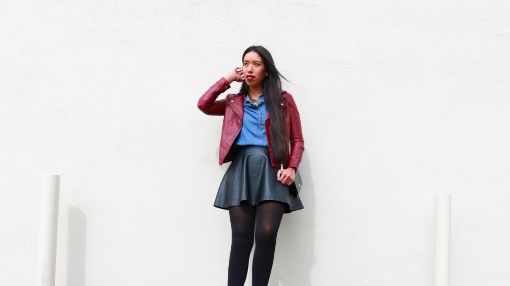 Forever 21 Burgundy Faux Leather Moto Jacket Denim Blue Self-Tie Denim Shirt Dress Neiman Marcus Last Call Vakko Black Faux-Leather Circle Skirt Black Booties