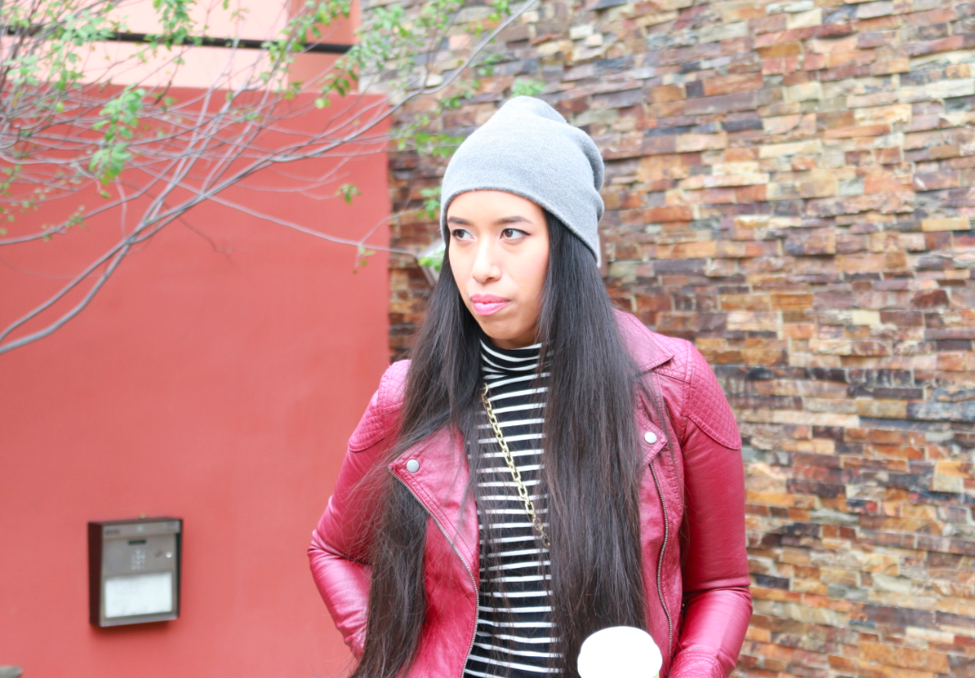 Forever 21 Burgundy Faux Leather Moto Jacket Black Sailor Skinny Jeans Black Cream Striped Turtleneck Top