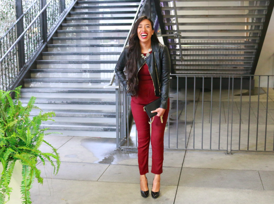 Forever21 Burgundy Short-Sleeved Crepe Jumpsuit  Black Total Babe Moto Jacket Macy's Black Patent Nine West Flax Pumps Laura Elizabeth Jewelry Courtenay Gold Cuff