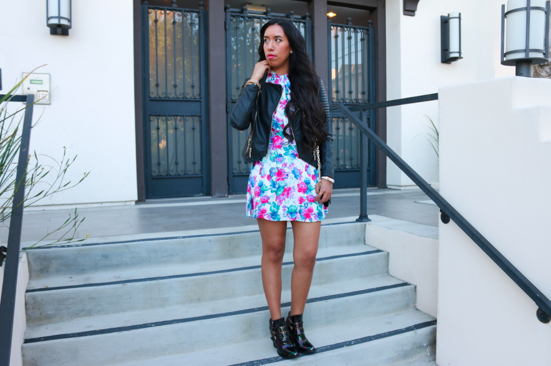 Forever21 white pink Watercolor Floral Shirt Dress Black Total Babe Moto Jacket ASOS EXTRA TIME Gladiator Crepe Mix Ankle Boot Petrol Oil Slick