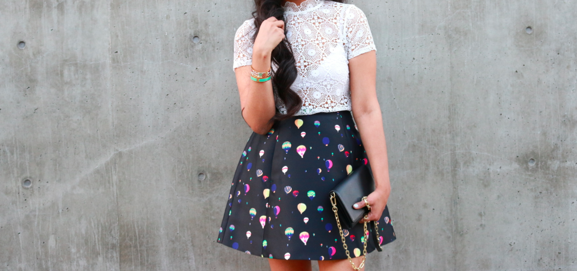 TopShop White HIGH NECK CROCHET TOP Kate Spade BALLOON PARTY LULA SKIRT ASOS SHOOTING STAR Heels Silver