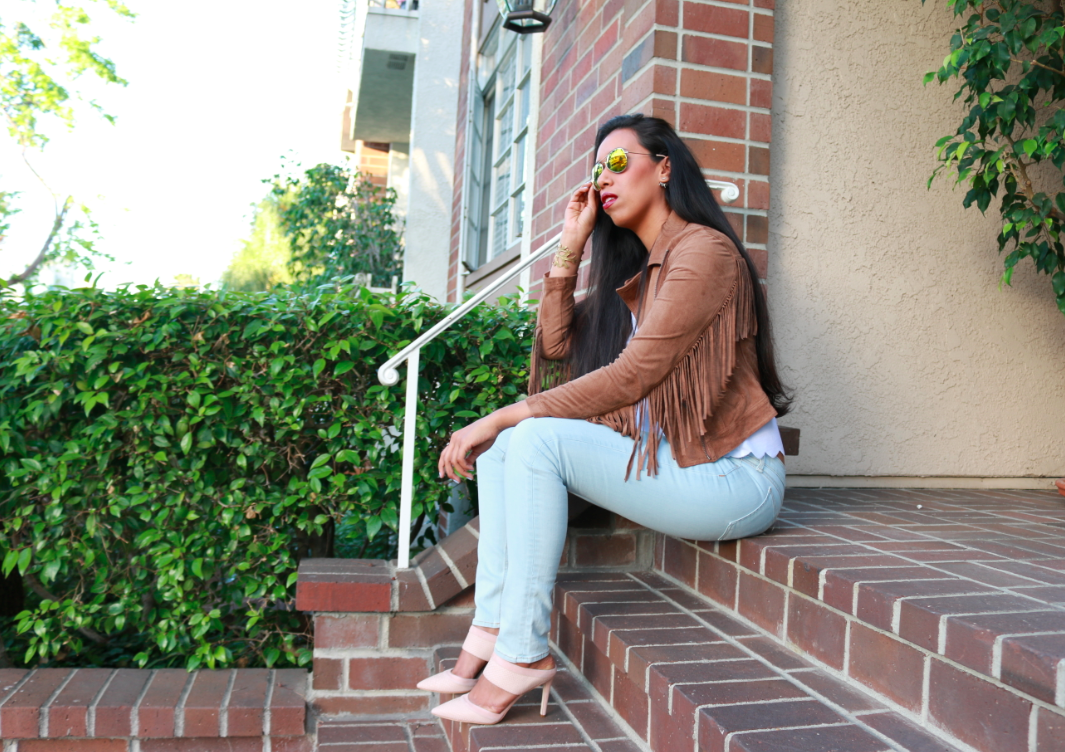 Hollister Co El Morro Vintage Jacket Brown Topshop White Scallop Frill Tee Nordstrom Rag and Bone 'The Skinny' Low Rise Jeans (White Water) Bloomingdales Via Spiga Pointed Toe Mule Slide Pumps - Dahlia Snake Embossed High Heel