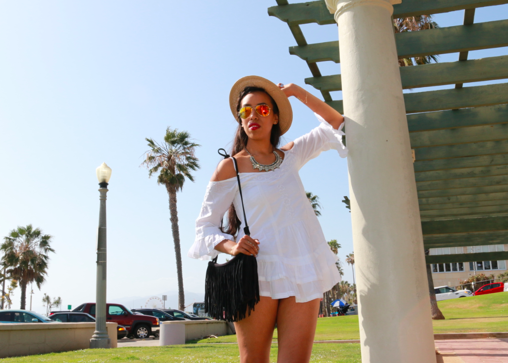 Urban Outfitters White Band Of Gypsies Bell-Sleeve Embroidered Cold-Shoulder Top Tan Grosgrain Mini Boater Hat Black Ecote Crescent Fringe Bag Bloomingdales Rebecca Minkoff Black Espadrille Sandals - Gilles Mesh Studded