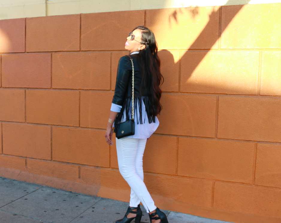 Nordstrom Glamorous Faux Leather Fringe Jacket Hollister Imperial Beach Shirt Blue Stripe True Religion White JOAN SMALLS MID RISE LEGGING Forever 21 Black Buckled Chelsea Boots