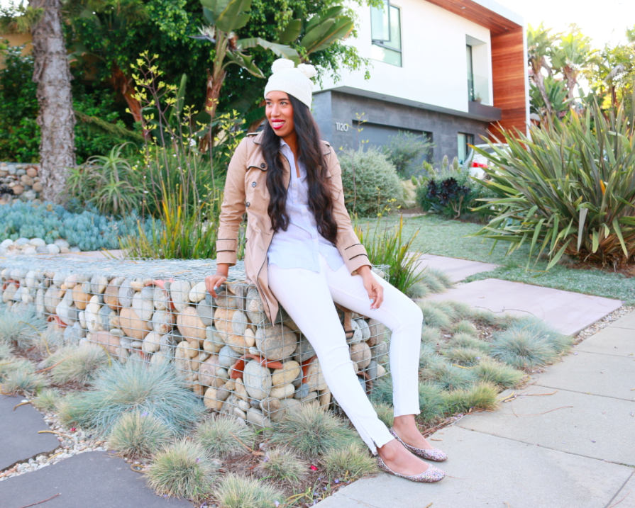 Hollister Cozy Pom Pom Beanie White Cream Imperial Beach Shirt Blue Stripe True Religion White JOAN SMALLS MID RISE LEGGING Banana Republic Khaki Light Brown Piped Trench
