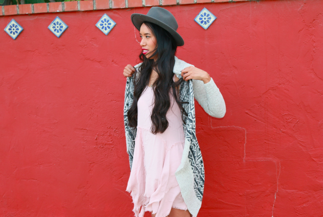 Casual Look Blush Pink Dress Grey Drape Knit