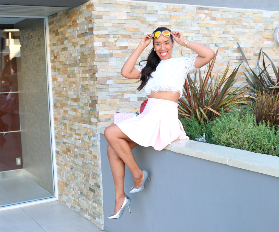 Sunday Best - White Lace Crop Top and Light Pink Skater Skirt Look Outfit