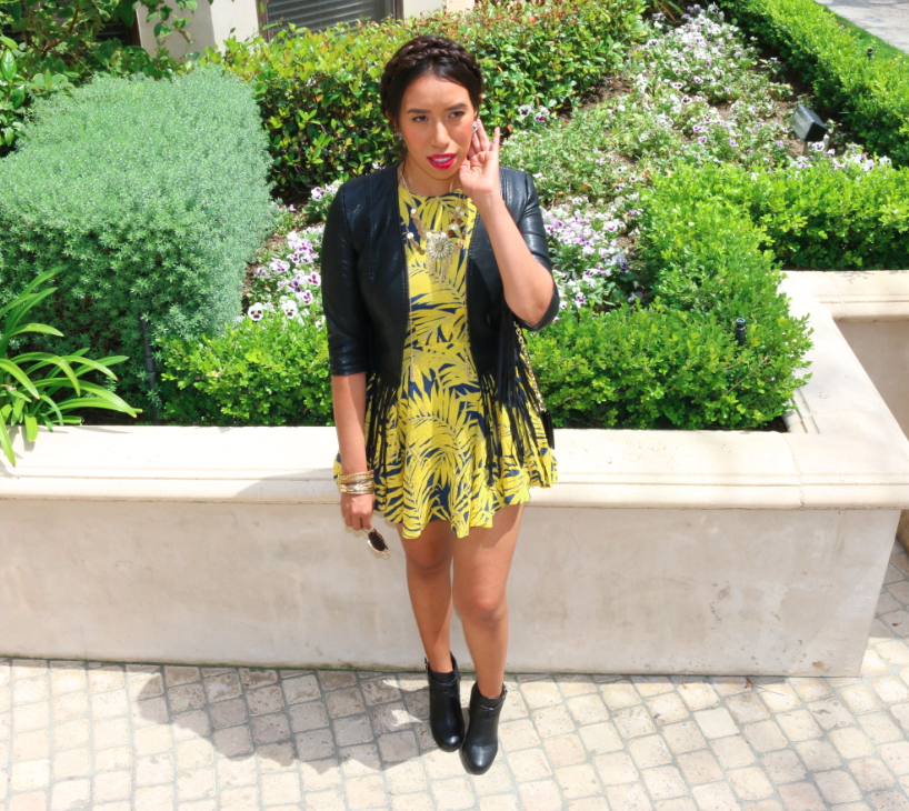Trying Something New: Yellow Dress and Black Leather Fringe Jacket Casual Look