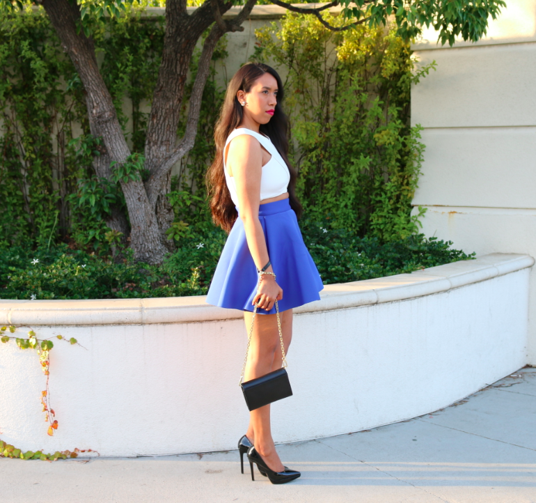 Feminine Silhouette: Stylish Daytime Look White Crop Top and Blue Skater Skirt