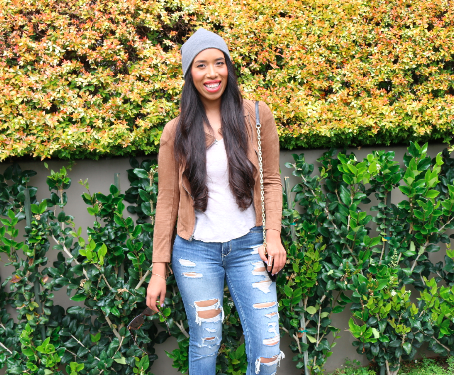 An Unlikely Combination: Casual Style - Suede Fringe Jacket Ripped Jeans and a Grey Beanie Outfit