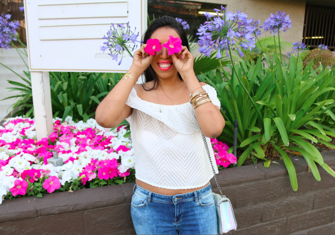 1st Year Blogiversary!! Perfect weekend wear outfit: white off the shoulder top and  ripped blue jeans