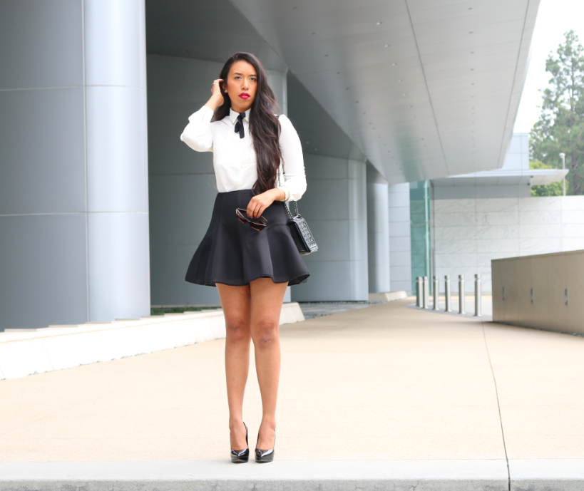 Dynamic Duo - Sophisticated Black and White Outfit with a Bow Tie
