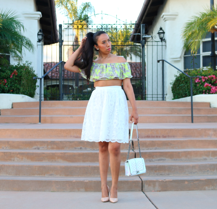 Summer Vibes - Summer Outfit Yellow Top and White Lace Skirt Look