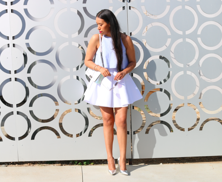 Fine Lines - Striped Crop Top White Skirt Outfit White and Blue Summer Look