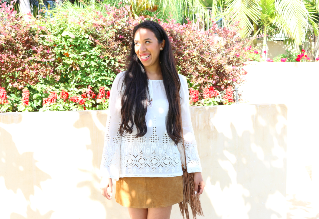Out and About - Casual Summer Outfit Brown Leather Skirt and Embroidered White Top