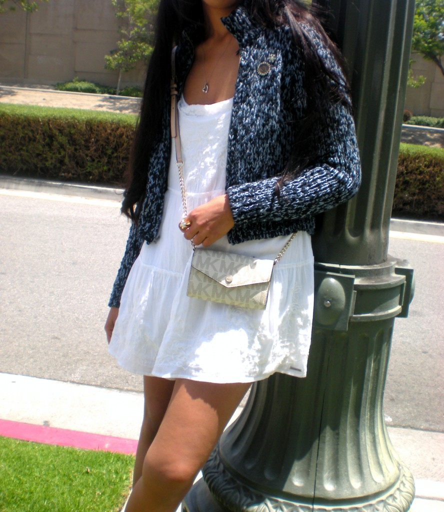 blue Marled Sweater White cotton Summer Dress outfit