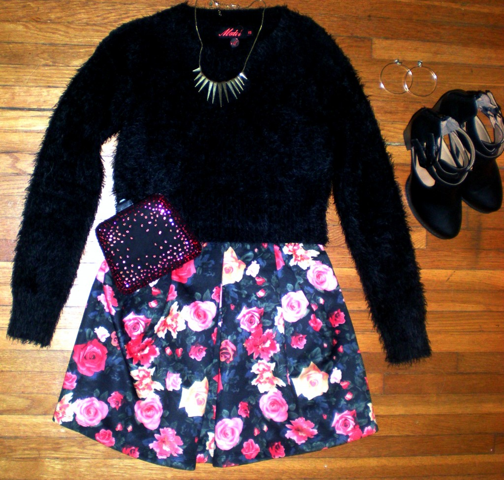 fuzzy sweater floral dress outfit