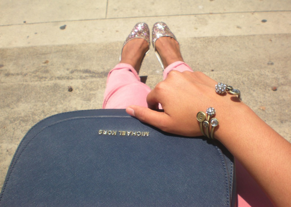 pink jeans glitter flats outfit